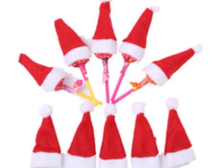 Pack of 10 Tiny Santa Hats.  Christmas Tree Decoration. Xmas Party Table Topper.