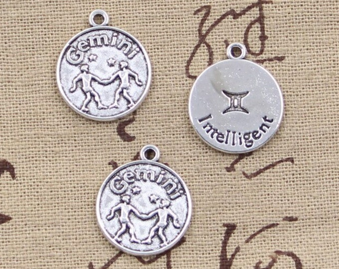 CLEARANCE Pack of 50 Silver Colour Intelligent Gemini Charms. Zodiac, Astrology and Star Sign Pendants
