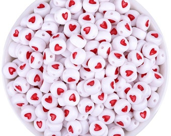 Pack of 500 Red & White Round Acrylic Heart Beads. 7mm x 3mm Plastic Spacers.