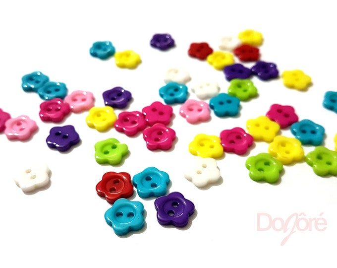 Pack of 200 Assorted Colours Plastic Floral Buttons. 10mm Flower Clothing Fasteners. Nature Theme