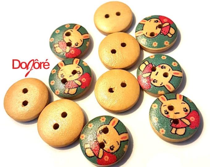 Pack of 100 Light or Dark Blue Round Love Bunny Rabbit Wood Buttons. 15mm Dress Maker Children Easter Wooden Fasteners