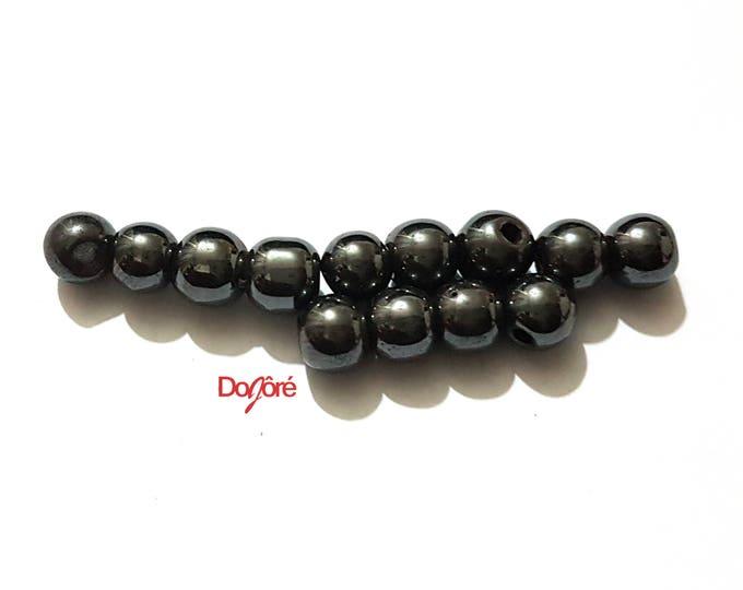 Pack of 100 Hematite Magnetic Round Beads. 6mm Black Metal Spacers