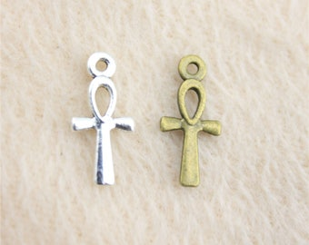 Pack of 50 Mini Ankh Charms. Different Colours. Egyptian Cross Pendants. Key of Life Crux Ansata.