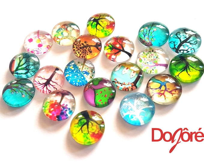 CLEARANCE Pack of 50 Round Assorted Colours Tree Flatback Cabochons. Glass Dome Rhinestones. 12mm x 4mm