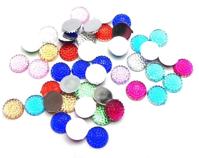 CLEARANCE Pack of 200 Mini Round 8mm Cabochons. Assorted Colours Rhinestone