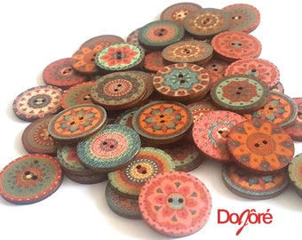 Pack of 50 Assorted Mix of 20mm Wood Round Pattern Floral Buttons. 2cm Wooden Autumn Funky Discs