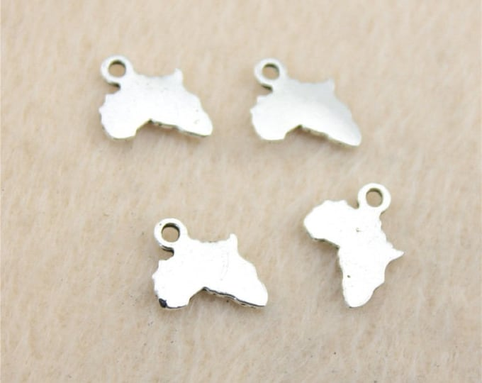 Pack of 50 Mini Silver Colour Africa Map Charms. 10mm x 13mm Alkebulan Motherland Pendants
