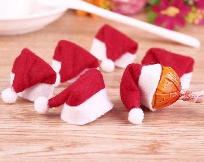 Pack of 10 Tiny Folded Christmas Hats. Xmas Santa Decorations