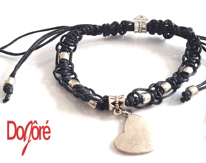 Handmade Black Cord and Silver Coloured Beads & Heart Charm Adjustable Macrame Bracelet