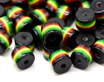 Pack of 50 Black Round Cylinder Tube Rasta Beads. Ghana Jamaica Reggae Stripes. 8mm x 8.5mm