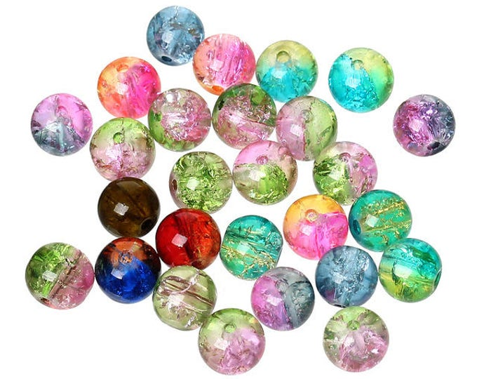 Pack of 200 Assorted Colours Round Crackle Glass Beads. 8mm Multicoloured Ball Spacers