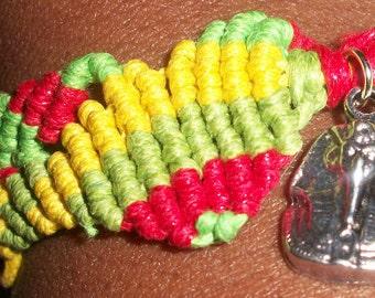 Handmade Extendable Waxed Cotton Cord Ribbon Rasta Macrame Bracelet With Tibetan Silver Pharaoh Charm