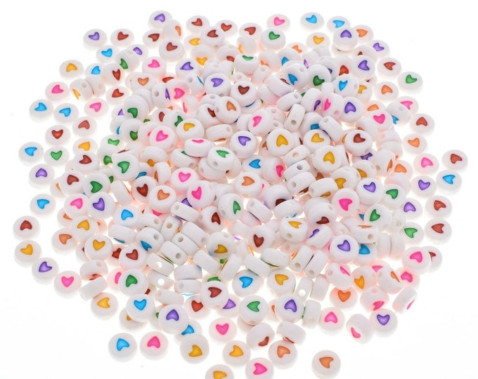 Pack of 200 White & Assorted Round Acrylic Heart Beads. 7mm x 3mm Assorted Colours Plastic Spacers
