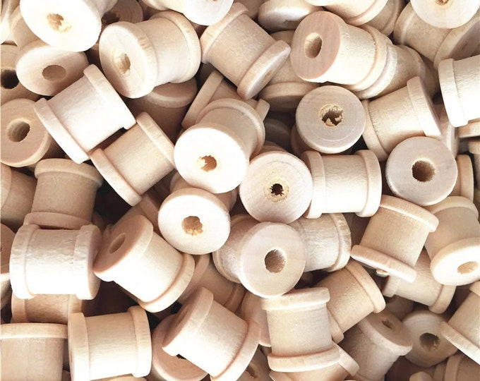 Pack of 45 MINI Natural Wood Bobbin Spools for Sewing Machines & Thread Storage