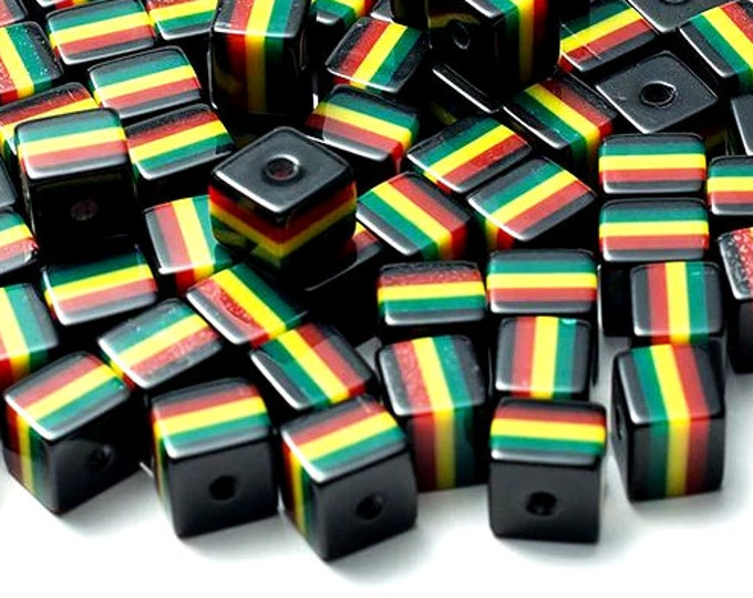 Pack of 50 Black Square Cube Rasta Beads. Ghana Jamaica Reggae Stripes. 10mm x 10mm