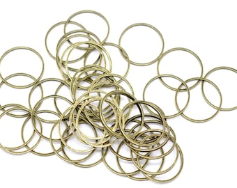Pack of 90 Round Closed Bronze Colour Metal Rings. 20mm Jewellery Findings