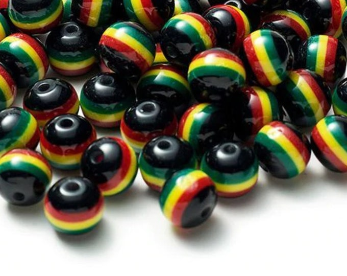 Pack of 80 Black Round Mini Rasta Colours Stripe Beads. 10mm Ghana Jamaica Reggae Spacers.
