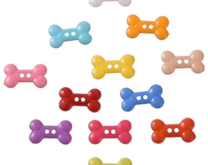 Pack of 100 Assorted Colours Plastic Bone Buttons. 10mm x 18mm Children Clothing Accessories