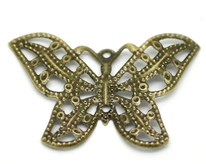 Pack of 20 Antique Look Bronze Butterfly Charms. Filigree Lightweight Pendants. 22mm x 32mm
