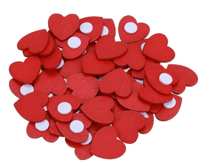 Pack of 100 Mini Wood Red Heart Stickers. Craft, Scrapbooking, Cardmaking & Decorating. 13mm x 18mm