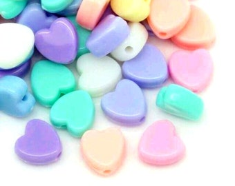 Pack of 100 Assorted Colours Pastel Acrylic Heart Beads. 7mm x 8mm Spacers