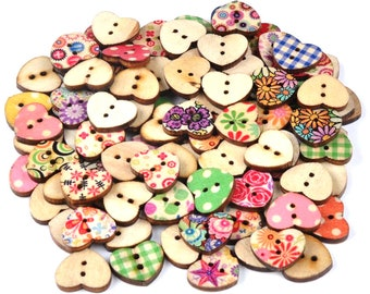 Pack of 100 Assorted Colours Wooden Heart Buttons. Assorted Mix Colourful Buttons. 14mm x 17mm.