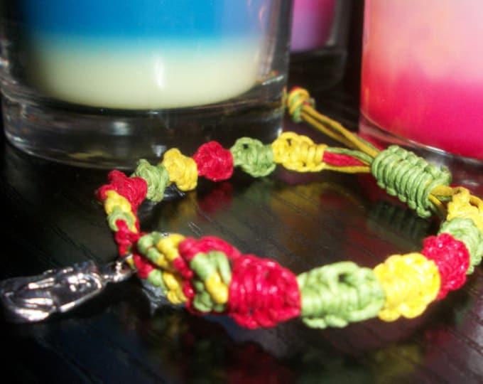 Handmade Extendable Waxed Cotton Cords Rasta Macrame Bracelet With Tibetan Silver Pharaoh Charm