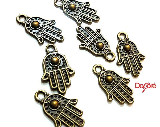 Pack of 50 Bronze Hamsa Hand of Fatima Charms. Amulet Pendants. 12mm x 20mm.