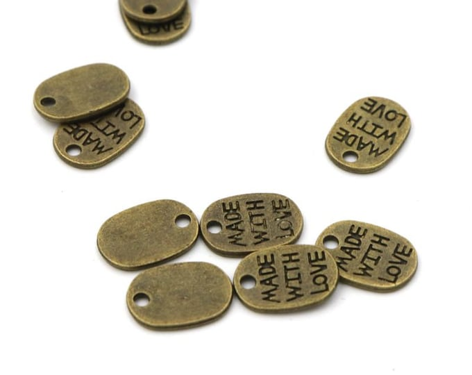 Pack of 90 Mini Metal Made With Love Tags. Bronze Colour Pendants. 10mm x 7mm Charms