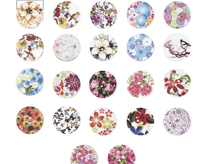 Pack of 45 Round Assorted Mix Wooden Floral Buttons. 25mm Easter Accessories