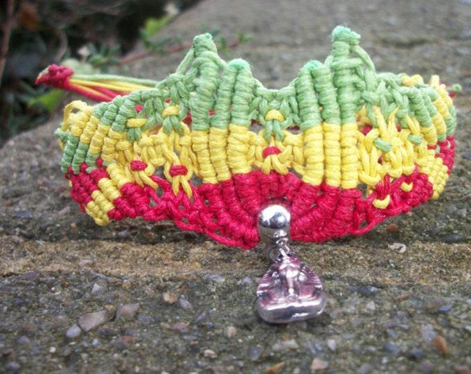 Handmade Waxed Cord Macrame Rasta Bracelet With Silver Coloured Pharaoh Charm