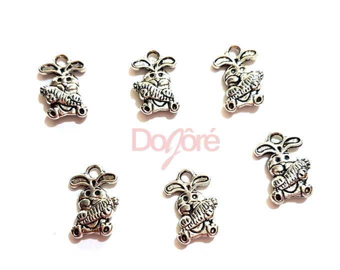 CLEARANCE Pack of 50 Mini Silver Colour Carrot & Bunny Rabbit Charms. Animal Nature Theme Pendants