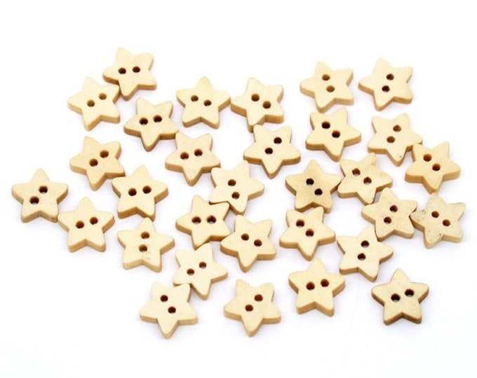 Pack of 50 Natural Wooden Star Buttons. 11mm x 12mm Plain Design Wood Symbols