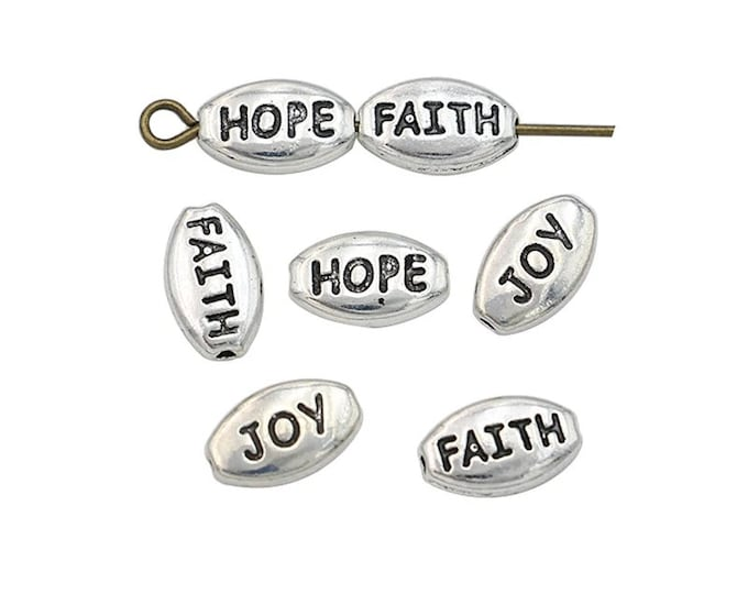 Pack of 20 FAITH JOY LOVE Mini Metal Spacer Beads. Different Colours Available. 6mm x 10mm Inspired Charms