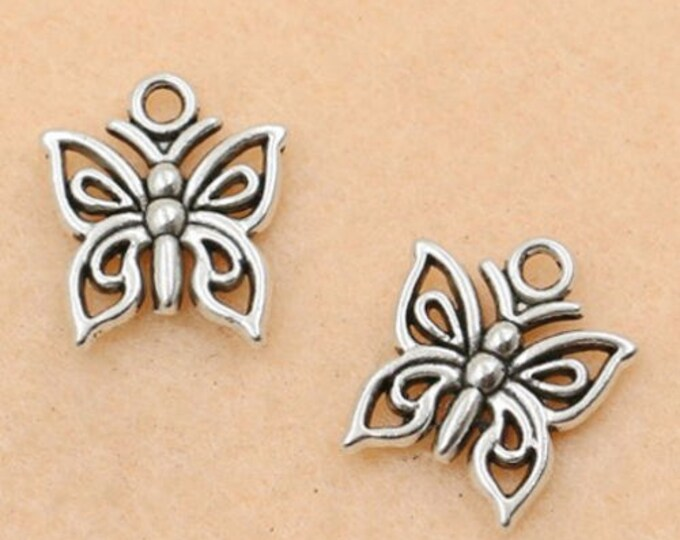 Pack of 20 Filigree Butterfly Charms For Handmade Jewellery. Bronze or Silver