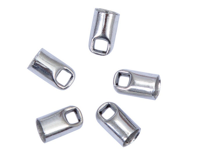 CLEARANCE Pack of 100 Silver Coloured Leather Cord Ends. 3mm Metal End Caps