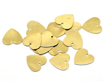 Pack of 100 Gold Coloured Heart Tags For Handmade. Blank Discs. Metal Love Charms. Romance Jewellery