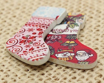 Pack of 30 Assorted Wooden Christmas Stockings Buttons. 20mm x 28mm. Wood Festive Xmas Socks