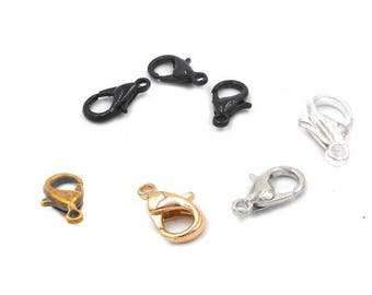 Pack of 100 Trigger Clasps. Different Colours Lobster Claw For Lanyard, Jewellery and Crafts 10mm x 6mm.