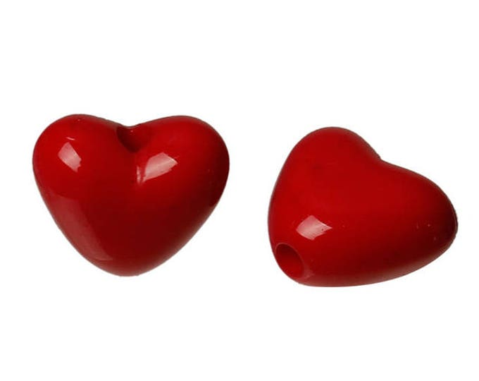 Pack of 200 Acrylic Red Love Heart Beads. 11mm x 10mm Spacers