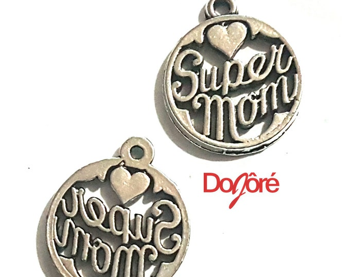 CLEARANCE Pack of 20 Silver Coloured Mom Charms. 8mm Super Mum Pendants