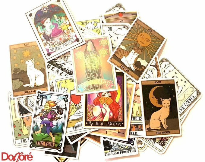 Pack of 50 Assorted Tarot Card Stickers.  Spiritual Occult Witch Decals. Birthday Gifts.