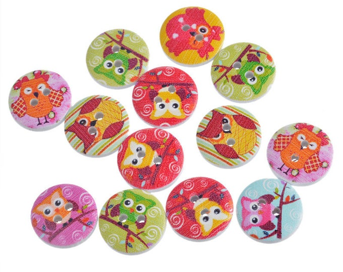 CLEARANCE Pack of 100 Round Wisdom Owl Buttons. 15mm Assorted Colours Clothing Fasteners