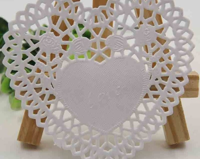 100 x Heart White Greaseproof Paper Doilies. 9cm x 10cm.