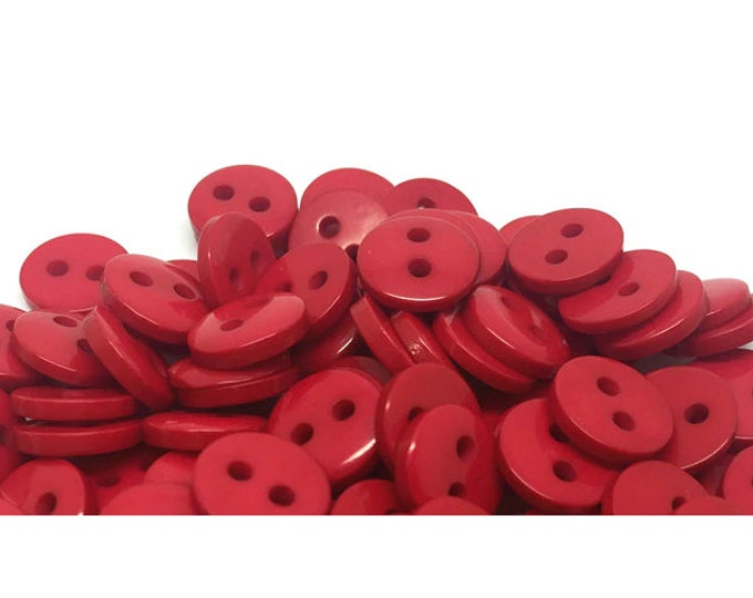 Pack of 100 Mini Round Flat Round Red Resin Buttons. 9mm Plain Plastic Fasteners. Love & Valentine's Day