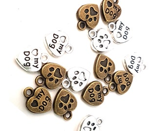 Pack of 50 My Dog Pet Charms. 13mm Paw Pendants. Different Colours Available.