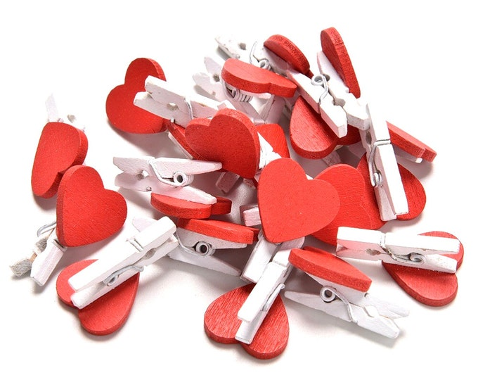 Pack of 100 Mini Wood Red Heart Pegs. Xmas, Wedding and Valentine's Love Wooden Gift Clips.