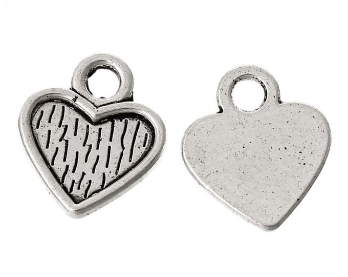 Pack of 50 Silver Tone 10mm Heart Charms. Cabochon Setting Pendants