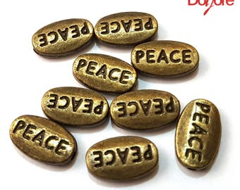 Pack of 20 Mini Bronze or Silver Coloured PEACE Spacer Beads. Inspired Word Charms. 6mm x 10mm