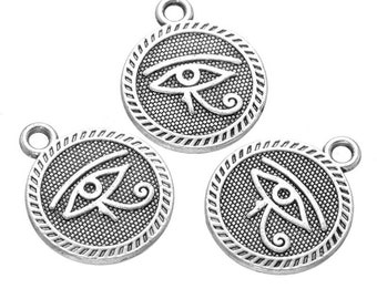 Pack of 20 Eye of Horus Charms. Different Colours Available. Egyptian Pendants. Wadjet Protection. 15mm Diameter.